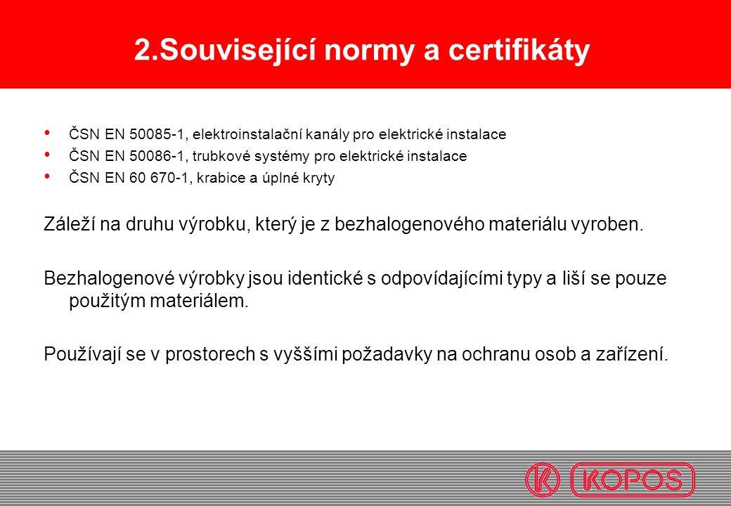 2.Související normy a certifikáty ČSN EN 50085-1, elektroinstalační kanály pro elektrické instalace ČSN EN 50086-1, trubkové systémy pro elektrické in