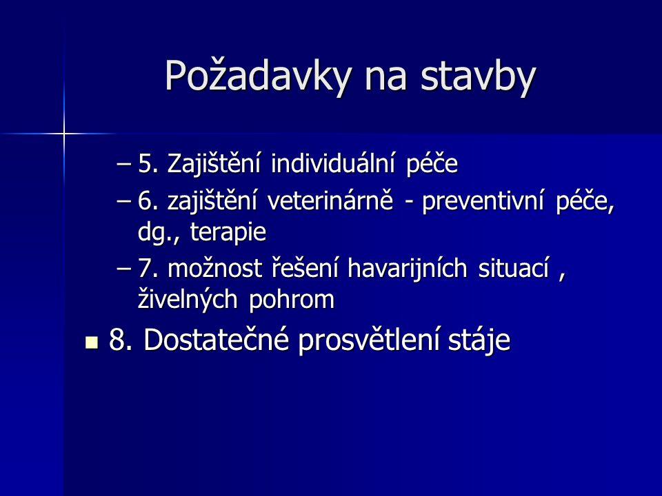 Požadavky na stavby –5. Zajištění individuální péče –6. zajištění veterinárně - preventivní péče, dg., terapie –7. možnost řešení havarijních situací,