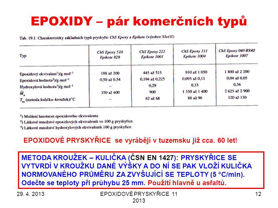 EPOXIDY – pár komerčních typů 29. 4. 2013EPOXIDOVÉ PRYSKYŘICE 11 2013 12 EPOXIDOVÉ PRYSKYŘICE se vyrábějí v tuzemsku již cca. 60 let! METODA KROUŽEK –