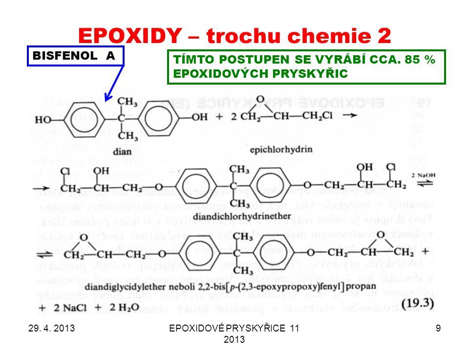 EPOXIDY – trochu chemie 2 29. 4. 2013EPOXIDOVÉ PRYSKYŘICE 11 2013 9 BISFENOL A TÍMTO POSTUPEN SE VYRÁBÍ CCA. 85 % EPOXIDOVÝCH PRYSKYŘIC