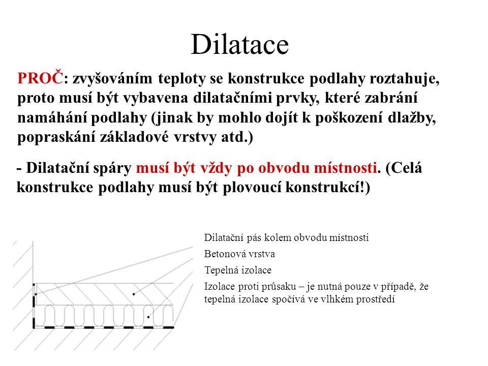 Dilatace - Dilatační spáry musí být vždy po obvodu místnosti. (Celá konstrukce podlahy musí být plovoucí konstrukcí!) Dilatační pás kolem obvodu místn