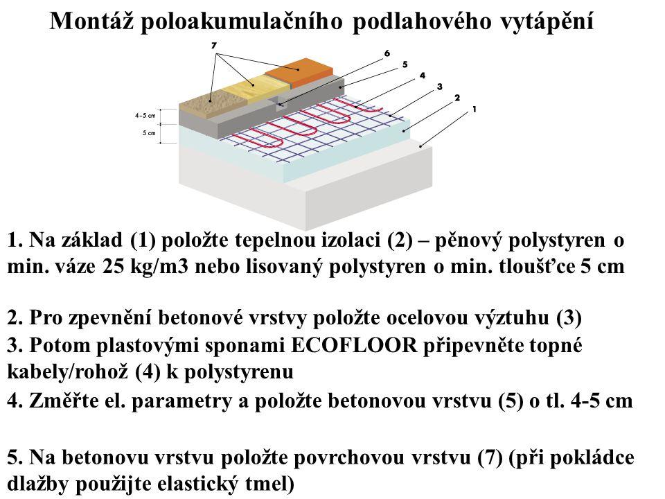 Montáž poloakumulačního podlahového vytápění 5. Na betonovu vrstvu položte povrchovou vrstvu (7) (při pokládce dlažby použijte elastický tmel) 1. Na z