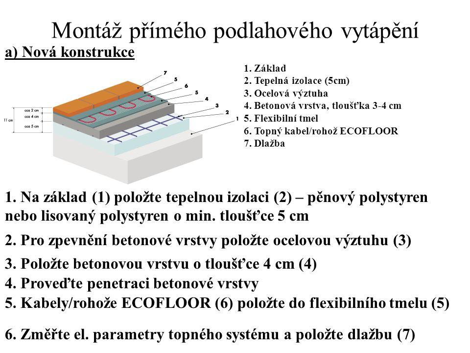 Montáž přímého podlahového vytápění a) Nová konstrukce 1. Základ 2. Tepelná izolace (5cm) 3. Ocelová výztuha 4. Betonová vrstva, tloušťka 3-4 cm 5. Fl