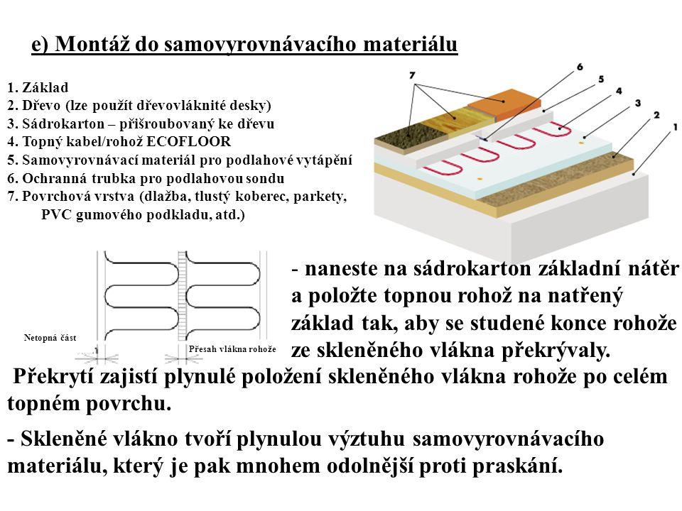 e) Montáž do samovyrovnávacího materiálu 1. Základ 2. Dřevo (lze použít dřevovláknité desky) 3. Sádrokarton – přišroubovaný ke dřevu 4. Topný kabel/ro