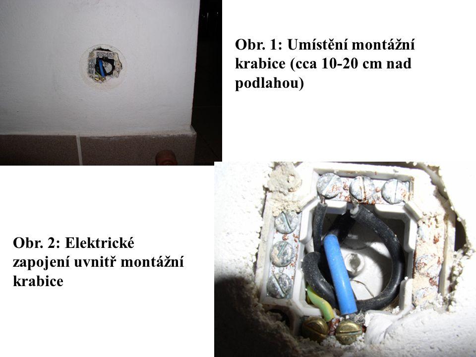 Obr. 1: Umístění montážní krabice (cca 10-20 cm nad podlahou) Obr. 2: Elektrické zapojení uvnitř montážní krabice