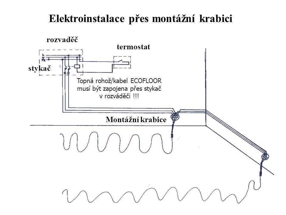 Elektroinstalace přes montážní krabici termostat rozvaděč stykač Montážní krabice Topná rohož/kabel ECOFLOOR musí být zapojena přes stykač v rozváděči