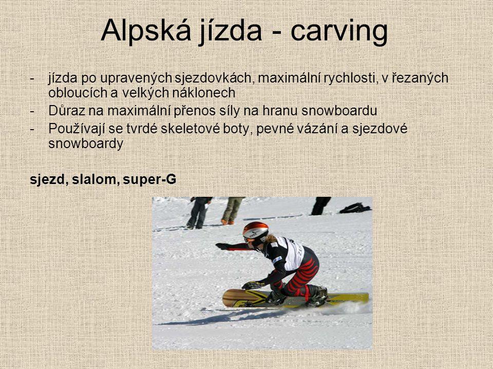 Alpská jízda - carving -jízda po upravených sjezdovkách, maximální rychlosti, v řezaných obloucích a velkých náklonech -Důraz na maximální přenos síly