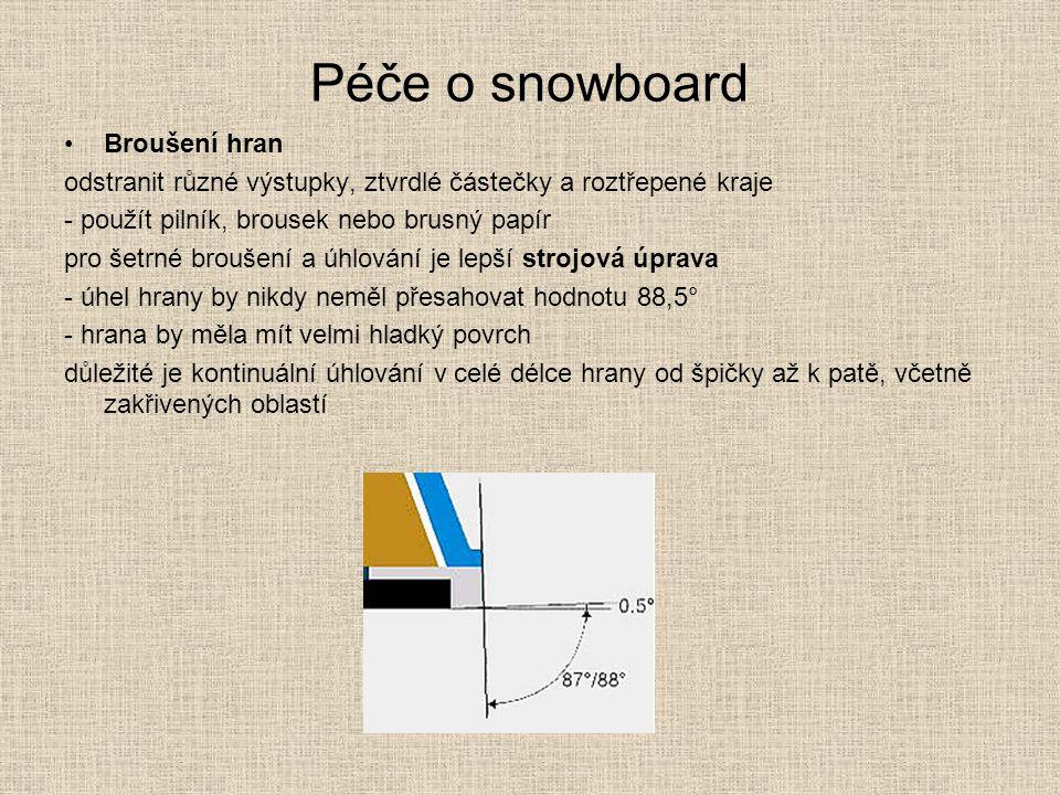 Péče o snowboard Broušení hran odstranit různé výstupky, ztvrdlé částečky a roztřepené kraje - použít pilník, brousek nebo brusný papír pro šetrné bro
