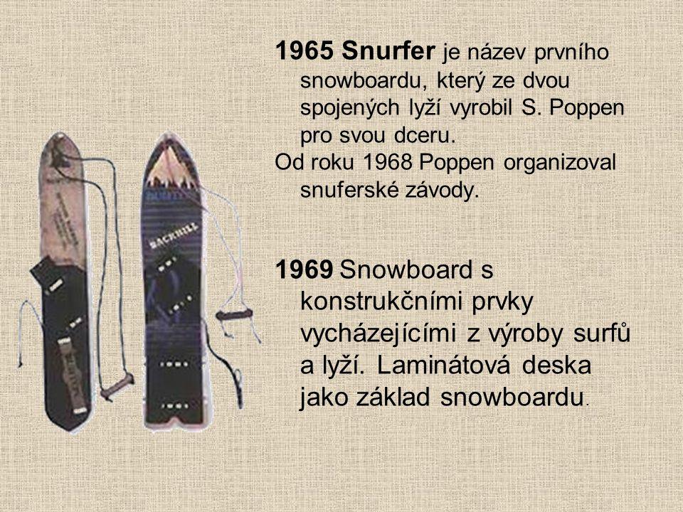 1965 Snurfer je název prvního snowboardu, který ze dvou spojených lyží vyrobil S. Poppen pro svou dceru. Od roku 1968 Poppen organizoval snuferské záv