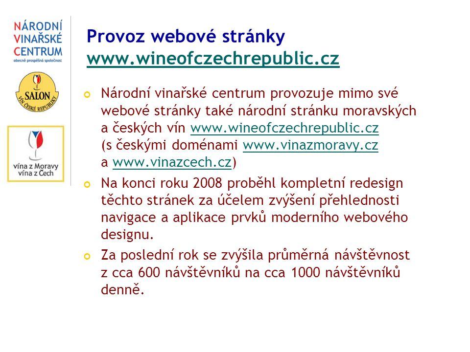 Provoz webové stránky www.wineofczechrepublic.cz www.wineofczechrepublic.cz Národní vinařské centrum provozuje mimo své webové stránky také národní stránku moravských a českých vín www.wineofczechrepublic.cz (s českými doménami www.vinazmoravy.cz a www.vinazcech.cz)www.wineofczechrepublic.czwww.vinazmoravy.czwww.vinazcech.cz Na konci roku 2008 proběhl kompletní redesign těchto stránek za účelem zvýšení přehlednosti navigace a aplikac e prvků moderního webového designu.