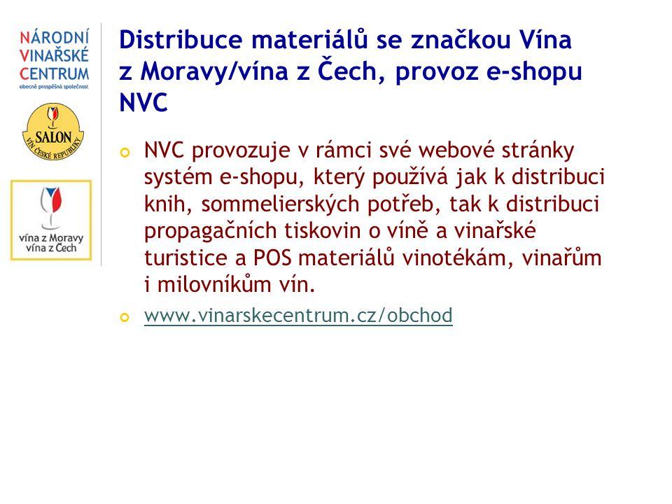 Distribuce materiálů se značkou Vína z Moravy/vína z Čech, provoz e-shopu NVC NVC provozuje v rámci své webové stránky systém e-shopu, který používá jak k distribuci knih, sommelierských potřeb, tak k distribuci propagačních tiskovin o víně a vinařské turistice a POS materiálů vinotékám, vinařům i milovníkům vín.