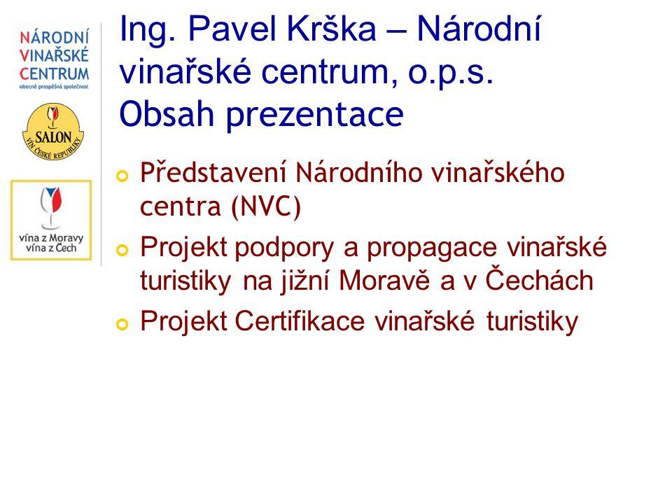 Ing. Pavel Krška – Národní vinařské centrum, o.p.s. Obsah prezentace Představení Národního vinařského centra (NVC) Projekt podpory a propagace vinařsk