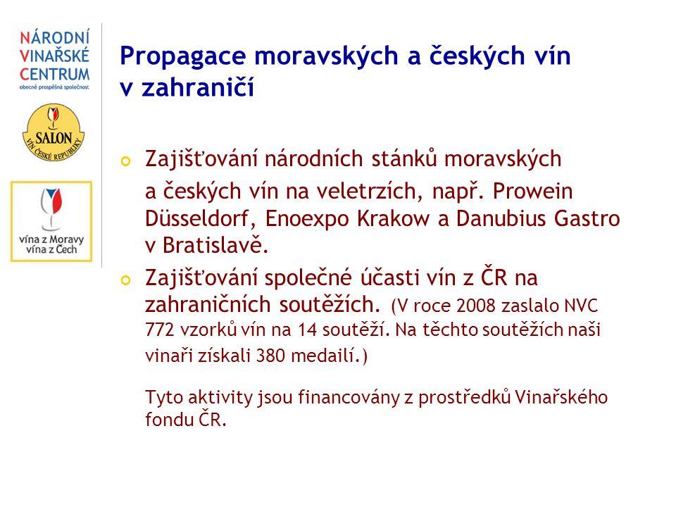 Propagace moravských a českých vín v zahraničí Zajišťování národních stánků moravských a českých vín na veletrzích, např.
