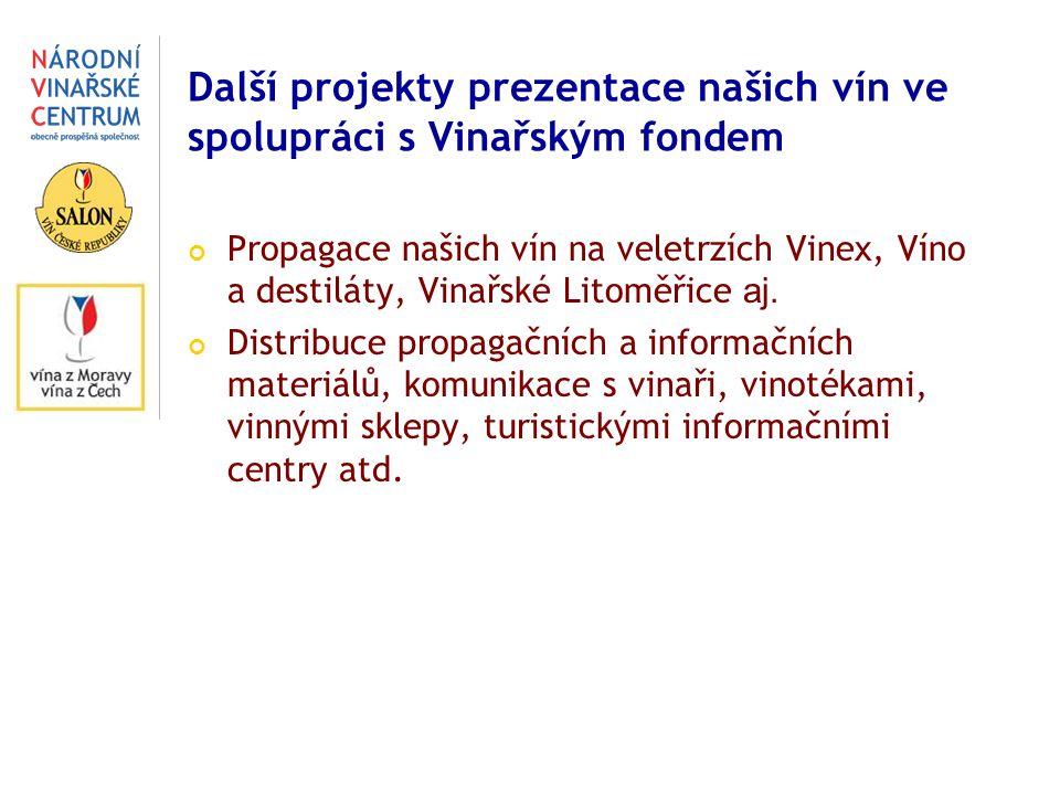 Další projekty prezentace našich vín ve spolupráci s Vinařským fondem Propagace našich vín na veletrzích Vinex, Víno a destiláty, Vinařské Litoměřice aj.