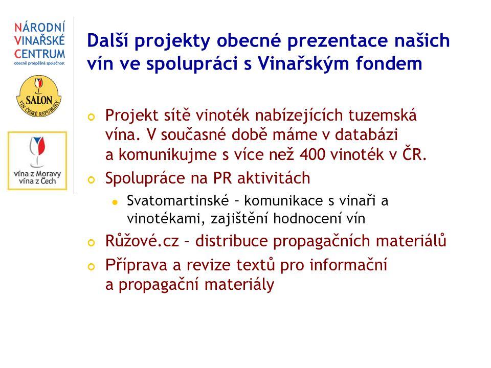 Další projekty obecné prezentace našich vín ve spolupráci s Vinařským fondem Projekt sítě vinoték nabízejících tuzemská vína. V současné době máme v d