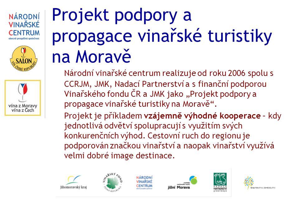 Projekt podpory a propagace vinařské turistiky na Moravě Národní vinařské centrum realizuje od roku 2006 spolu s CCRJM, JMK, Nadací Partnerství a s fi