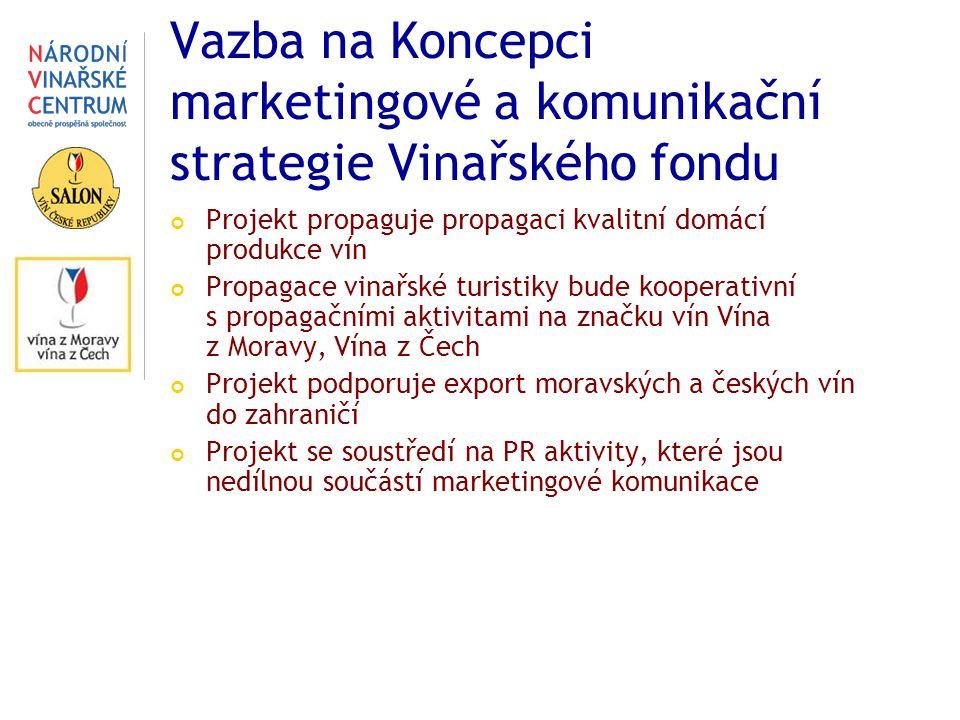 Vazba na Koncepci marketingové a komunikační strategie Vinařského fondu Projekt propaguje propagaci kvalitní domácí produkce vín Propagace vinařské tu