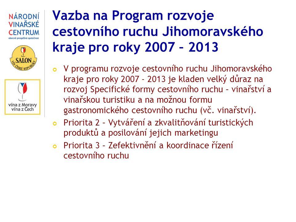 Vazba na Program rozvoje cestovního ruchu Jihomoravského kraje pro roky 2007 – 2013 V programu rozvoje cestovního ruchu Jihomoravského kraje pro roky