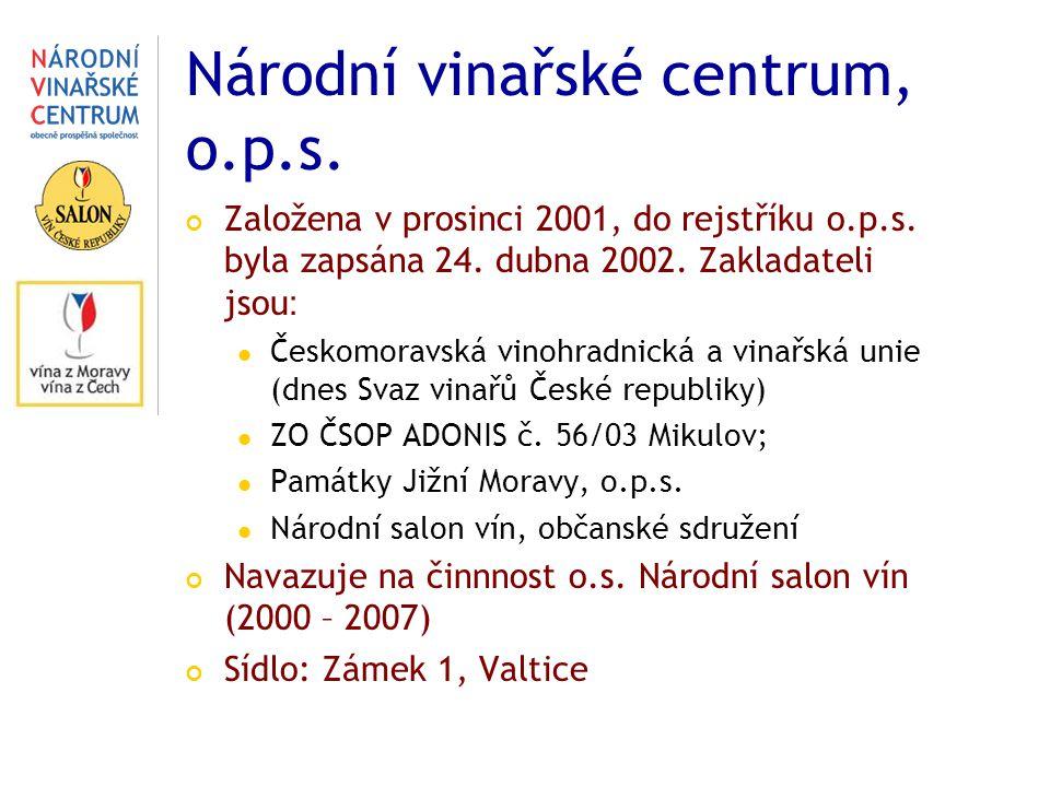 Národní vinařské centrum, o.p.s. Založena v prosinci 2001, do rejstříku o.p.s. byla zapsána 24. dubna 2002. Zakladateli jsou : Českomoravská vinohradn