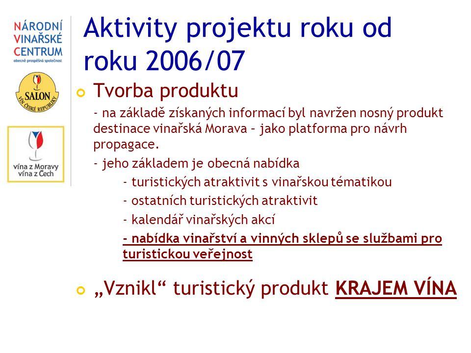 Aktivity projektu roku od roku 2006/07 Tvorba produktu - na základě získaných informací byl navržen nosný produkt destinace vinařská Morava – jako platforma pro návrh propagace.
