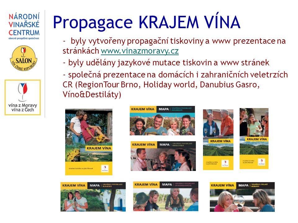 Propagace KRAJEM VÍNA - byly vytvořeny propagační tiskoviny a www prezentace na stránkách www.vinazmoravy.czwww.vinazmoravy.cz - byly udělány jazykové mutace tiskovin a www stránek - společná prezentace na domácích i zahraničních veletrzích CR (RegionTour Brno, Holiday world, Danubius Gasro, Víno&Destiláty)