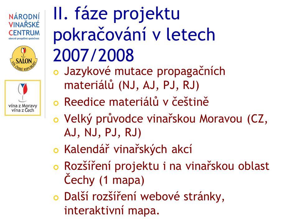 II. fáze projektu pokračování v letech 2007/2008 Jazykové mutace propagačních materiálů (NJ, AJ, PJ, RJ) Reedice materiálů v češtině Velký průvodce vi