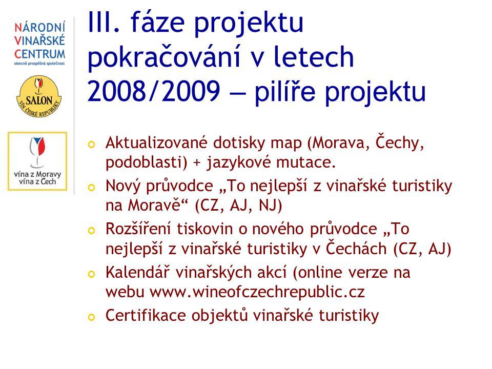 III. fáze projektu pokračování v letech 2008/2009 – pilíře projektu Aktualizované dotisky map (Morava, Čechy, podoblasti) + jazykové mutace. Nový prův