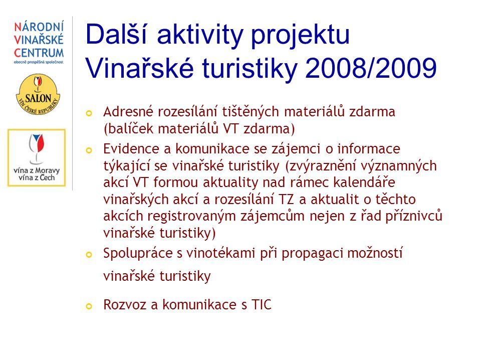 Další aktivity projektu Vinařské turistiky 2008/2009 Adresné rozesílání tištěných materiálů zdarma (balíček materiálů VT zdarma) Evidence a komunikace