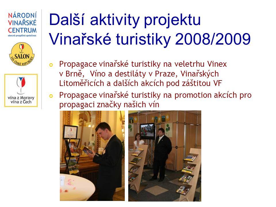 Další aktivity projektu Vinařské turistiky 2008/2009 Propagace vinařské turistiky na veletrhu Vinex v Brně, Víno a destiláty v Praze, Vinařských Litom