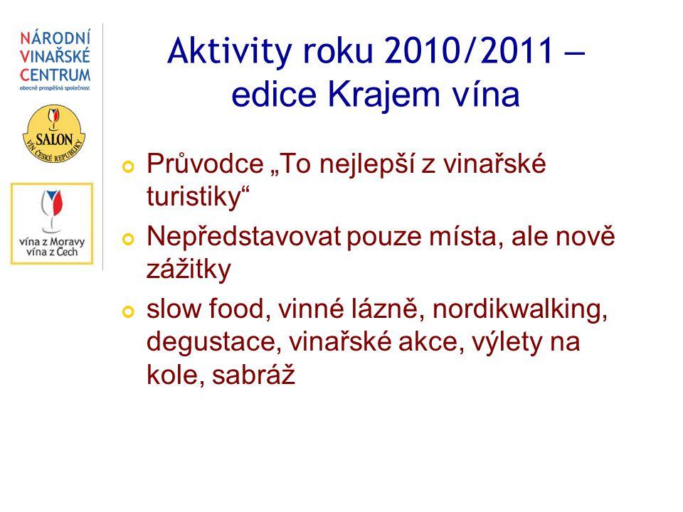 """Aktivity roku 2010/2011 – edice Krajem vína Průvodce """"To nejlepší z vinařské turistiky Nepředstavovat pouze místa, ale nově zážitky slow food, vinné lázně, nordikwalking, degustace, vinařské akce, výlety na kole, sabráž"""