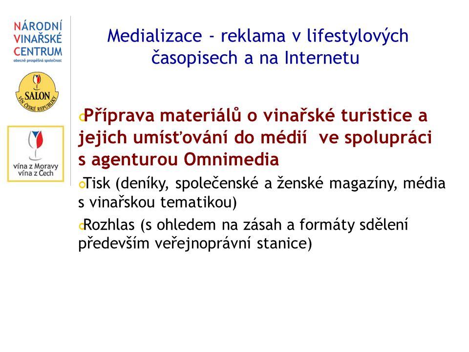Medializace - reklama v lifestylových časopisech a na Internetu Příprava materiálů o vinařské turistice a jejich umísťování do médií ve spolupráci s agenturou Omnimedia Tisk (deníky, společenské a ženské magazíny, média s vinařskou tematikou) Rozhlas (s ohledem na zásah a formáty sdělení především veřejnoprávní stanice)
