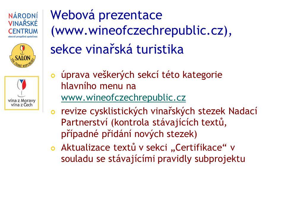 """Webová prezentace (www.wineofczechrepublic.cz), sekce vinařská turistika úprava veškerých sekcí této kategorie hlavního menu na www.wineofczechrepublic.cz www.wineofczechrepublic.cz revize cysklistických vinařských stezek Nadací Partnerství (kontrola stávajících textů, případné přidání nových stezek) Aktualizace textů v sekci """"Certifikace v souladu se stávajícími pravidly subprojektu"""