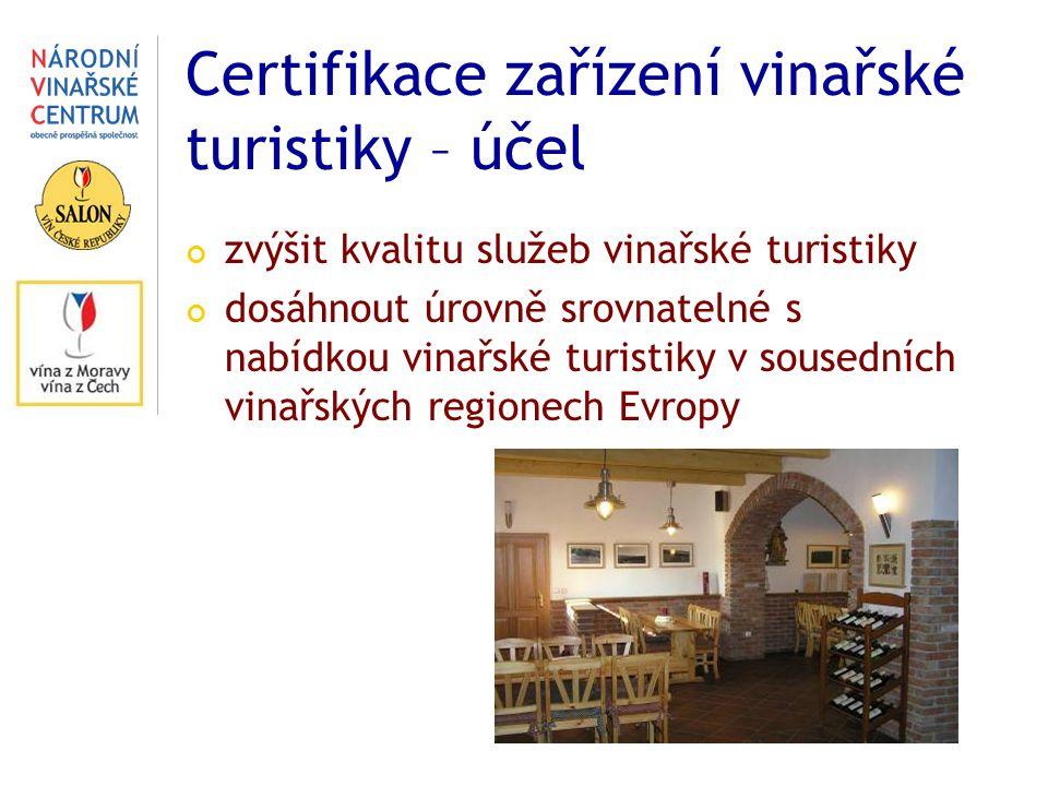Certifikace zařízení vinařské turistiky – účel zvýšit kvalitu služeb vinařské turistiky dosáhnout úrovně srovnatelné s nabídkou vinařské turistiky v sousedních vinařských regionech Evropy