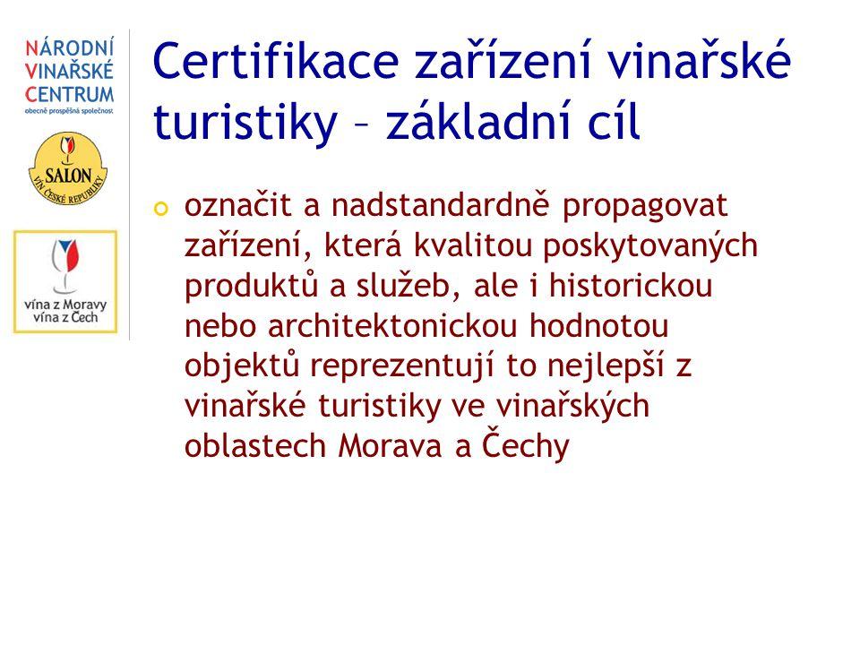Certifikace zařízení vinařské turistiky – základní cíl označit a nadstandardně propagovat zařízení, která kvalitou poskytovaných produktů a služeb, ale i historickou nebo architektonickou hodnotou objektů reprezentují to nejlepší z vinařské turistiky ve vinařských oblastech Morava a Čechy