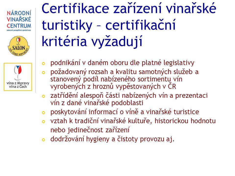 Certifikace zařízení vinařské turistiky – certifikační kritéria vyžadují podnikání v daném oboru dle platné legislativy požadovaný rozsah a kvalitu samotných služeb a stanovený podíl nabízeného sortimentu vín vyrobených z hroznů vypěstovaných v ČR zatřídění alespoň části nabízených vín a prezentaci vín z dané vinařské podoblasti poskytování informací o víně a vinařské turistice vztah k tradiční vinařské kultuře, historickou hodnotu nebo jedinečnost zařízení dodržování hygieny a čistoty provozu aj.