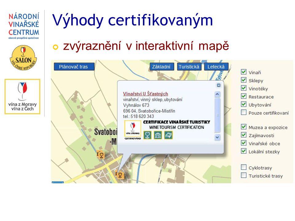 V ýhody certifikovaným zvýraznění v interaktivní mapě