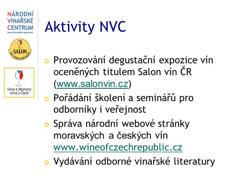 Aktivity NVC Provozování degustační expozice vín oceněných titulem Salon vín ČR (www.salonvin.cz)www.salonvin.cz Pořádání školení a seminářů pro odbor