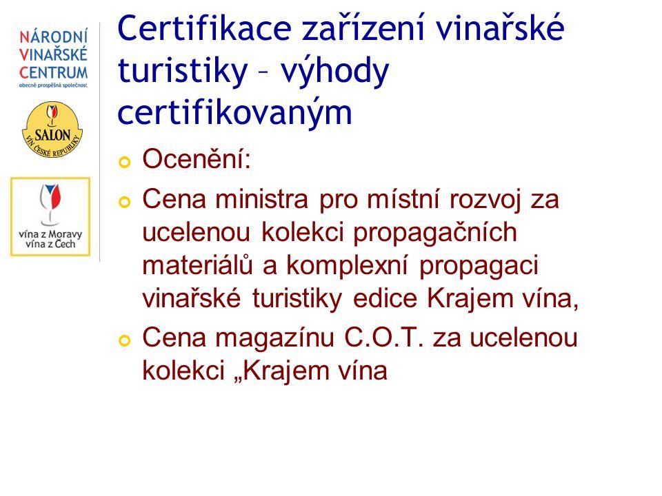Certifikace zařízení vinařské turistiky – výhody certifikovaným Ocenění: Cena ministra pro místní rozvoj za ucelenou kolekci propagačních materiálů a