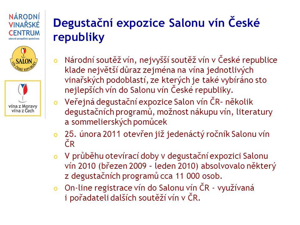 D egustační expozice Salonu vín České republiky Národní soutěž vín, nejvyšší soutěž vín v České republice klade největší důraz zejména na vína jednotlivých vinařských podoblastí, ze kterých je také vybíráno sto nejlepších vín do Salonu vín České republiky.