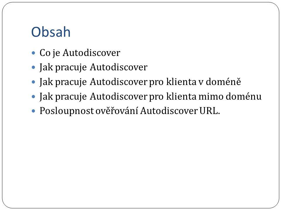 Obsah Co je Autodiscover Jak pracuje Autodiscover Jak pracuje Autodiscover pro klienta v doméně Jak pracuje Autodiscover pro klienta mimo doménu Posloupnost ověřování Autodiscover URL.