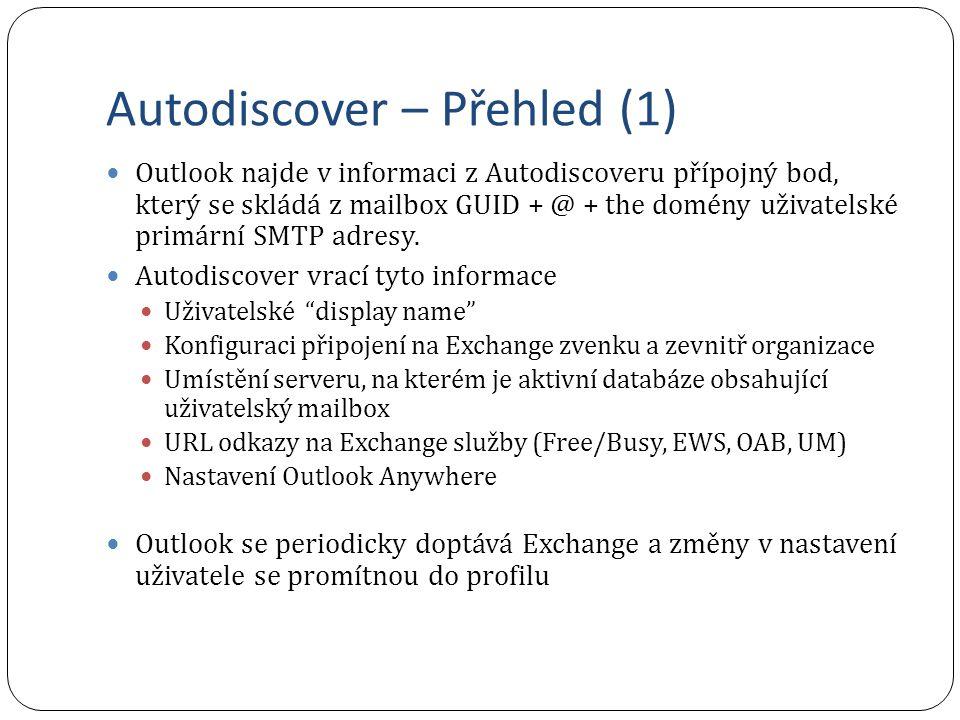 Autodiscover – Přehled (1) Outlook najde v informaci z Autodiscoveru přípojný bod, který se skládá z mailbox GUID + @ + the domény uživatelské primární SMTP adresy.