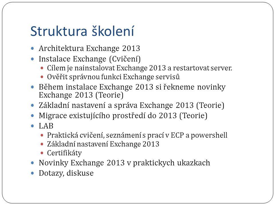 Struktura školení Architektura Exchange 2013 Instalace Exchange (Cvičení) Cílem je nainstalovat Exchange 2013 a restartovat server. Ověřit správnou fu
