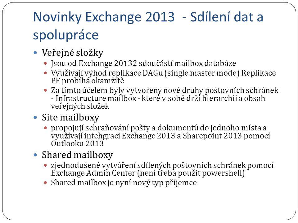 Novinky Exchange 2013 - Sdílení dat a spolupráce Veřejné složky Jsou od Exchange 20132 sdoučástí mailbox databáze Využívají výhod replikace DAGu (sing