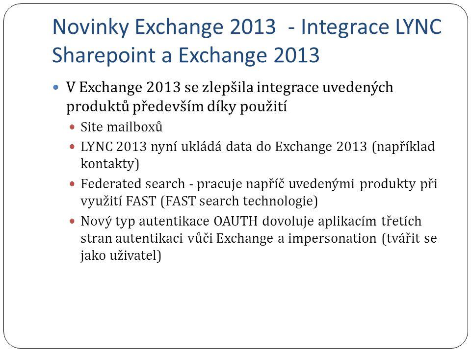 Novinky Exchange 2013 - Integrace LYNC Sharepoint a Exchange 2013 V Exchange 2013 se zlepšila integrace uvedených produktů především díky použití Site