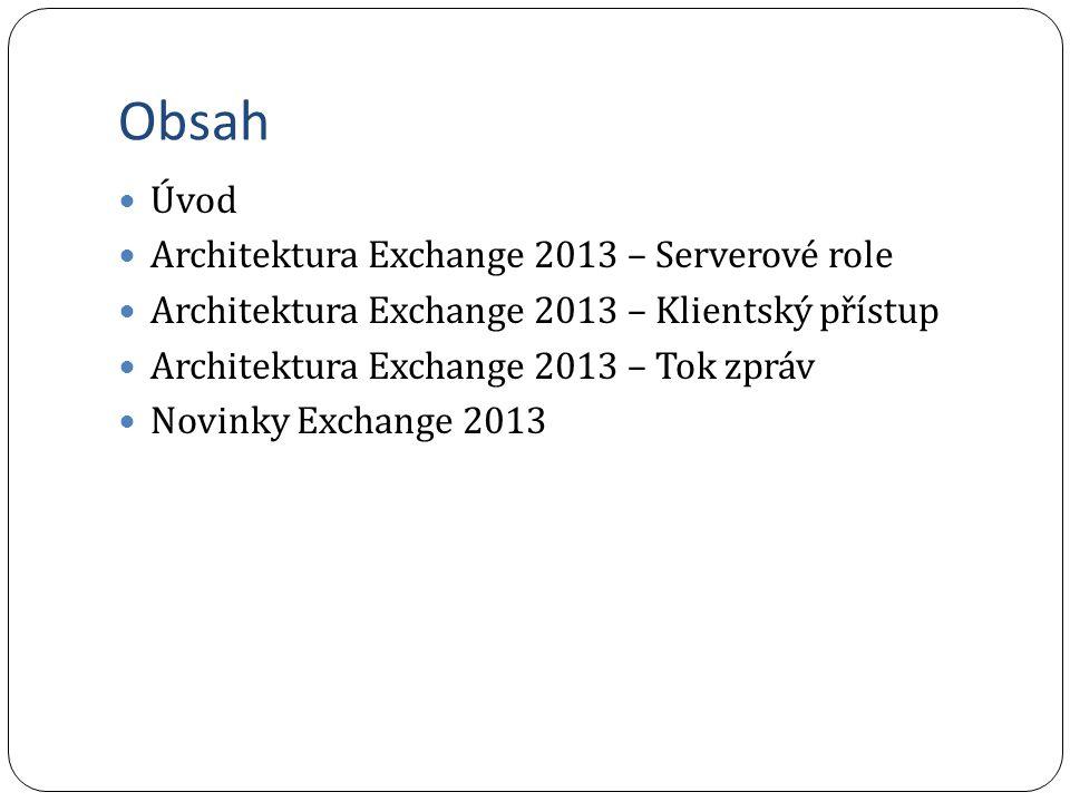 Novinky Exchange 2013 - Sdílení dat a spolupráce Veřejné složky Jsou od Exchange 20132 sdoučástí mailbox databáze Využívají výhod replikace DAGu (single master mode) Replikace PF probíhá okamžitě Za tímto účelem byly vytvořeny nové druhy poštovních schránek - Infrastructure mailbox - které v sobě drží hierarchii a obsah veřejných složek Site mailboxy propojují schraňování pošty a dokumentů do jednoho místa a využívají intehgraci Exchange 2013 a Sharepoint 2013 pomocí Outlooku 2013 Shared mailboxy zjednodušené vytváření sdílených poštovních schránek pomocí Exchange Admin Center (není třeba použít powershell) Shared mailbox je nyní nový typ příjemce