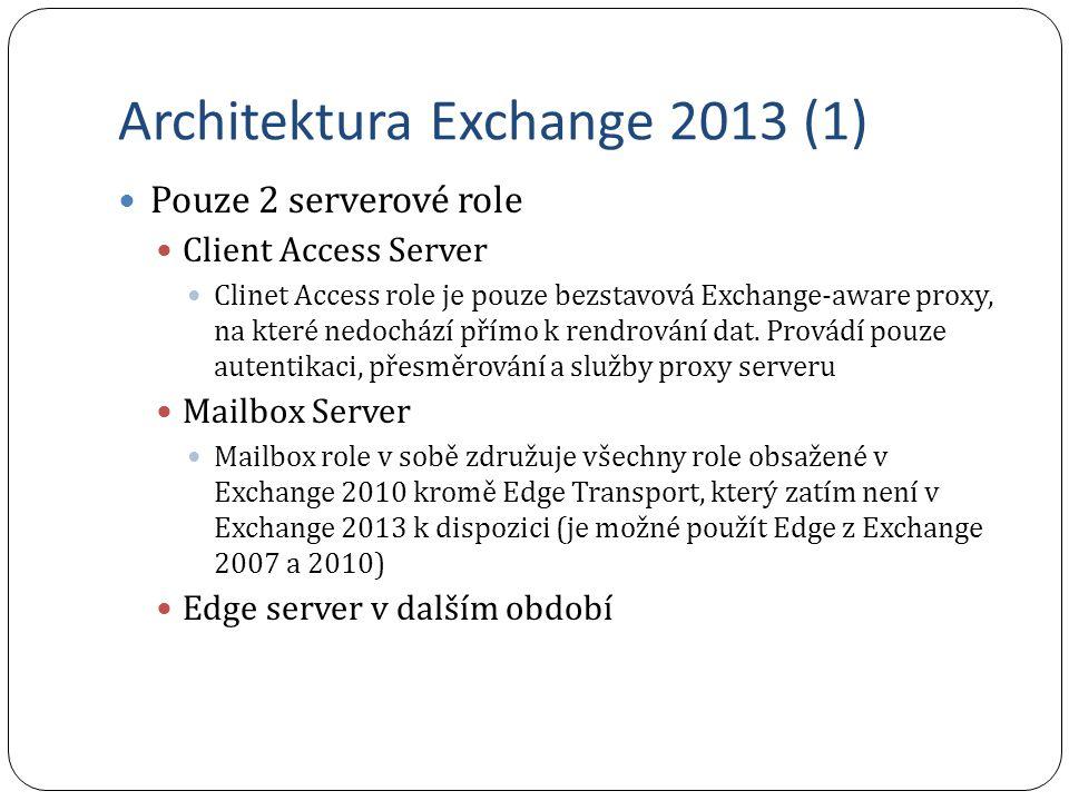 Architektura Exchange 2013 (1) Pouze 2 serverové role Client Access Server Clinet Access role je pouze bezstavová Exchange-aware proxy, na které nedoc