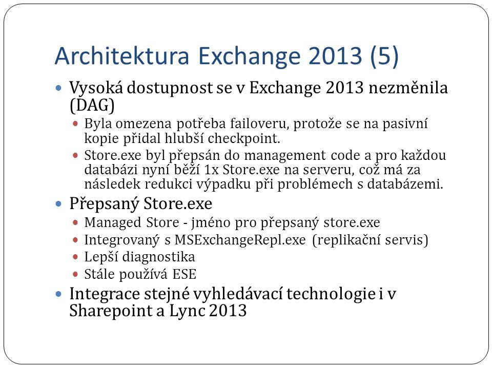 Architektura Exchange 2013 (5) Vysoká dostupnost se v Exchange 2013 nezměnila (DAG) Byla omezena potřeba failoveru, protože se na pasivní kopie přidal