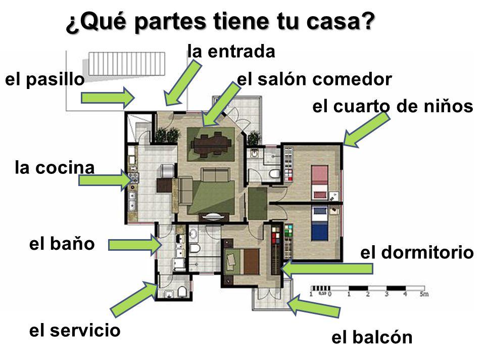 la entrada el salón comedor el cuarto de niňos el dormitorio el balcón el baňo el servicio la cocina ¿Qué partes tiene tu casa.