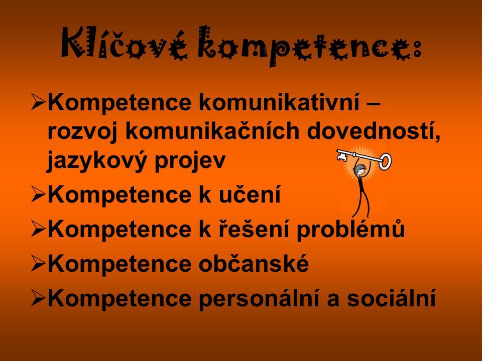 Klí č ové kompetence:  Kompetence komunikativní – rozvoj komunikačních dovedností, jazykový projev  Kompetence k učení  Kompetence k řešení problémů  Kompetence občanské  Kompetence personální a sociální