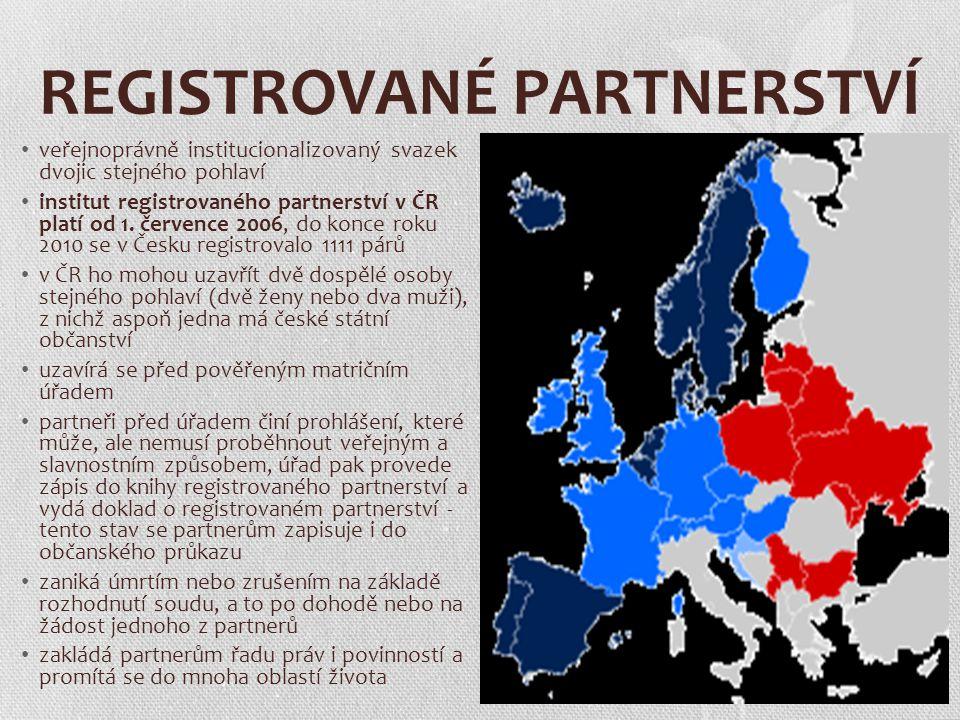 REGISTROVANÉ PARTNERSTVÍ veřejnoprávně institucionalizovaný svazek dvojic stejného pohlaví institut registrovaného partnerství v ČR platí od 1. červen